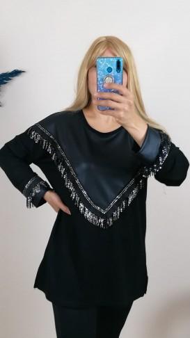 Deri ve Pul İşlemeli Rahat Kalıp Bluz -Siyah