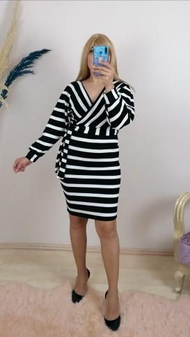 Triko Kruvaze Yaka Kemerli Çizgili Elbise - Siyah / Beyaz