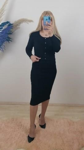 İkili Triko Takım Elbise - Siyah