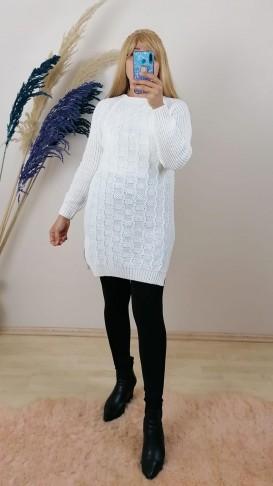 Triko Tunik Kazak - Beyaz