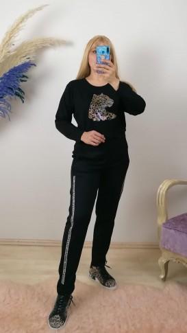 Leopar Desenli Taş İşleme Takım - Siyah