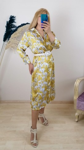 Çiçekli Beli kemerli Parlak Kumaş Elbise - Sarı