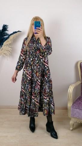 Çiçekli Önden Düğmeli  Elbise