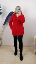 Peluş Fermuarlı Uzun Kapüşonlu Hırka - Kırmızı