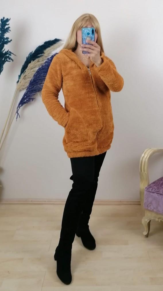 Peluş Fermuarlı Uzun Kapüşonlu Hırka - Hardal