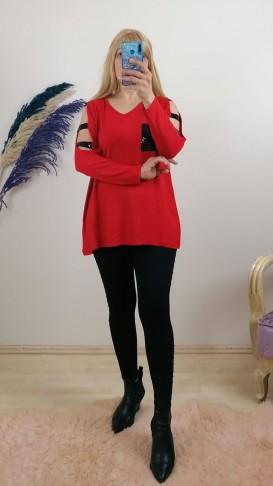 Triko Cep Ve Omuz Detaylı  Bluz - Kırmızı