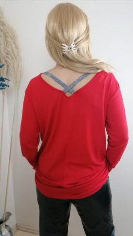 Triko Çapraz Sırt İşleme  Detaylı  Bluz - Kırmızı