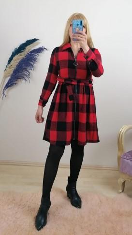 Ekose Önü Fermuarlı  Elbise - Kırmızı