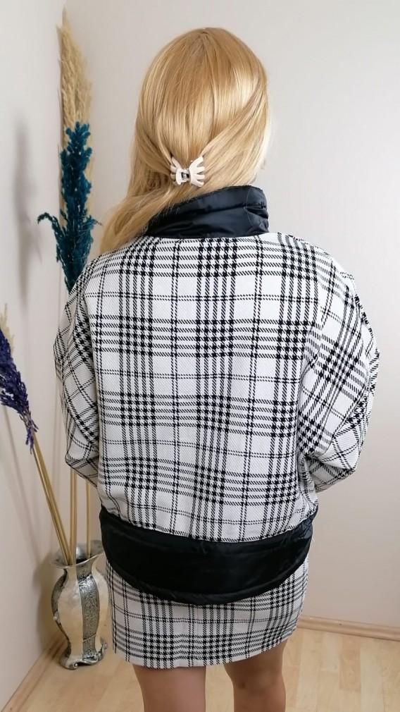 Ekose Desenli Etek Ceket  İkili Takım