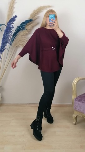 Triko Kemerli Panço Kazak - Bordo