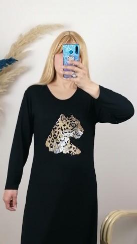 Leopar Desen Taş İşlemeli Tunik Elbise - Siyah