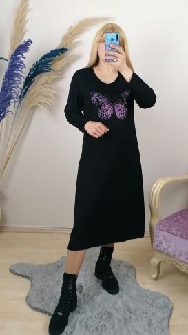 Kelebek  Desen Pembe Taş İşlemeli Tunik Elbise - Siyah