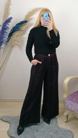 Yüksek Bel Desenli Yün Pantalon - Siyah
