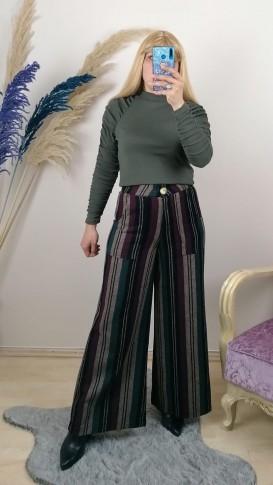 Yüksek Bel Çizgili Yün Pantalon - Siyah