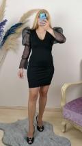 Balon Kol Likralı Elbise - Siyah