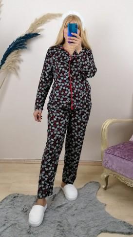 Nubuk Çiçekli  Önü Düğmeli Pijama Takım