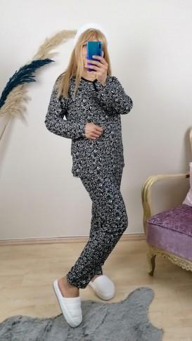 Nubuk Çiçekli  Pijama Takım - Siyah