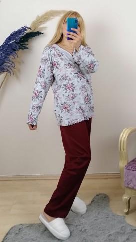 Battal Beden Alt Bordo Üstü Çiçekli Pijama Tkm