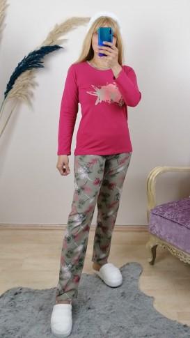 Yumuşak Dokulu Pijama Takım -Pembe