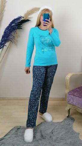 Yumuşak Dokulu Pijama Takım -Mavi
