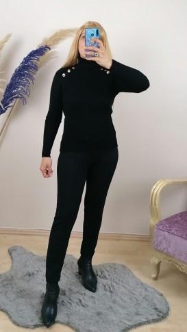 Triko Örme Balıkçı Yaka Kazak - Siyah