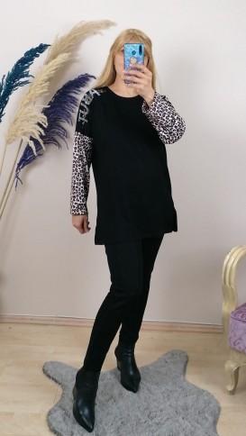 Leopar Desenli Taş İşlemeli Rahat Kalıp Bluz - Siyah