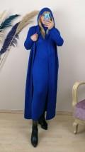 Triko Kapüşonlu Uzun İkili Takım - Mavi