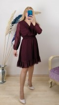 Puanlı Kısa Şifon Elbise - Bordo