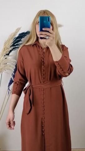 Krep Kumaş  Önden Düğmeli  Elbise - Kahverengi