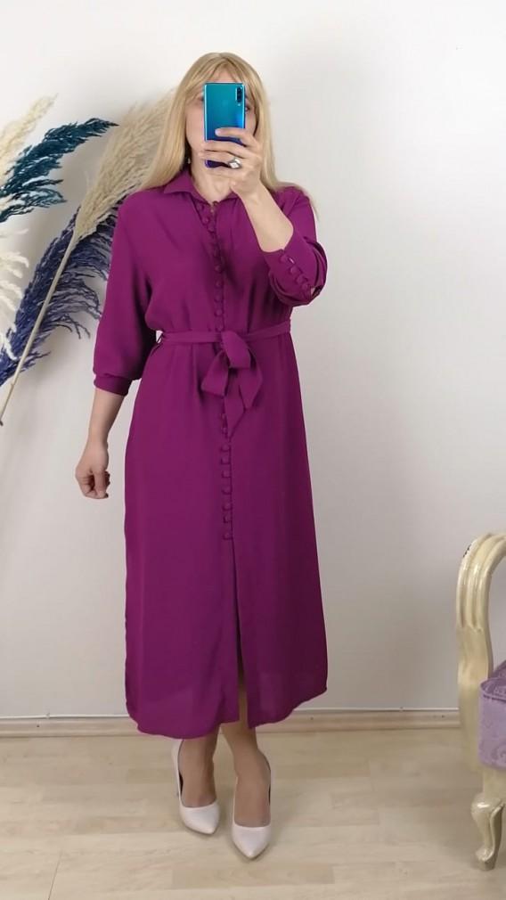Krep Kumaş  Önden Düğmeli  Elbise - Fuşya