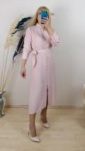 Krep Kumaş  Önden Düğmeli  Elbise - Pudra