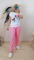 Pamuklu Mickey Mause  Pijama Takım -Pembe