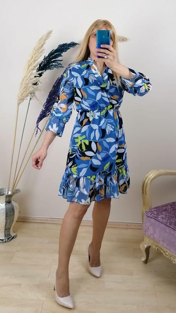 Mevsimlik Sifon Kısa Elbise - Mavi