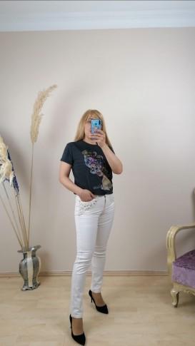 Cepleri Taş İşlemeli Jean Pantalon - Beyaz