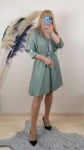 Krep Kumaş kolları taş Detaylı Elbise - Çağla