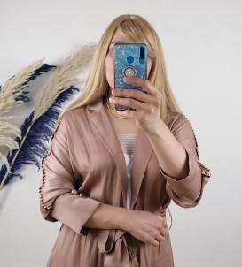 Krep Kumaş kolları taş Detaylı Elbise - Açık Camel
