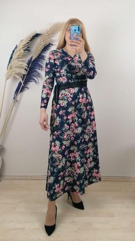 Likralı Krep Kumaş Çiçekli Elbise - Siyah