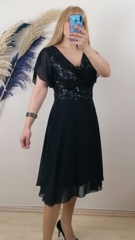 Tül Detay İşlemeli Şifon Elbise - Siyah