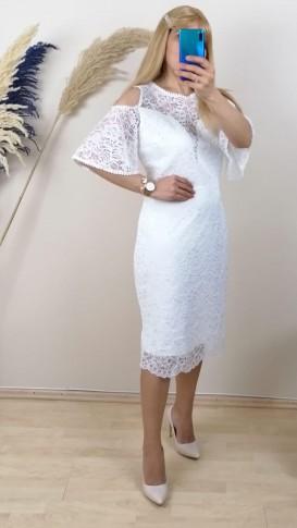 Dantel İşlemeli Elbise - Beyaz