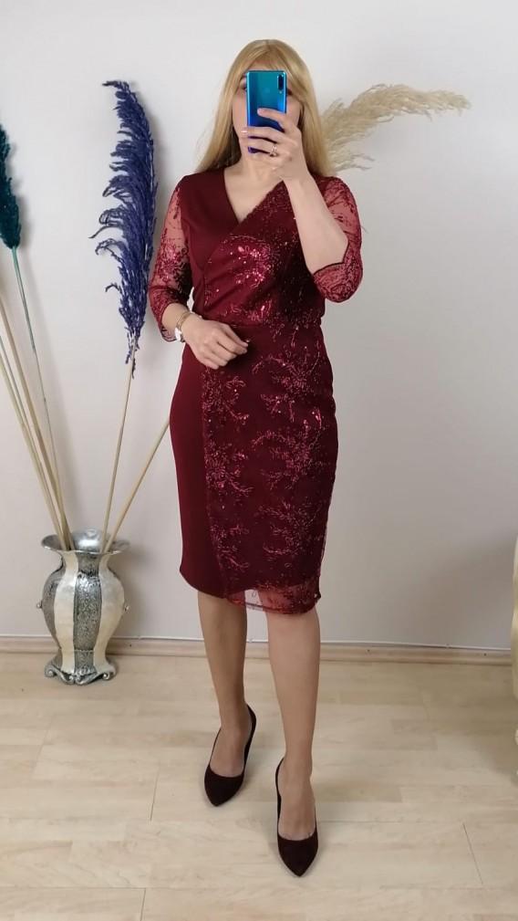 Tül Ve Dantel İşlemeli Elbise - Bordo