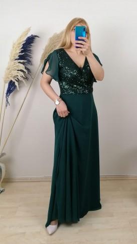 Payetli Şifon Uzun Elbise - Yeşil