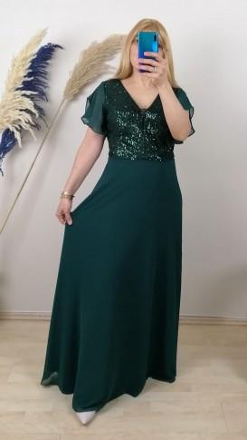 Tül Ve Dantel İşlemeli Uzun Elbise - Yeşil