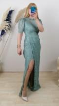 Dantel İşlemeli  Uzun Elbise - Yeşil