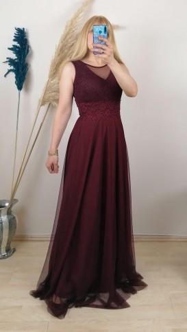 Beli Dantelli Tül Detay Uzun Elbise - Bordo