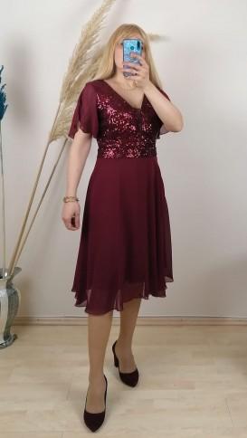 Tül Detay İşlemeli Şifon Elbise - Bordo