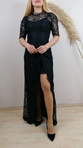Dantel İşlemeli Yırtmaçlı Uzun Elbise - Siyah