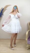 Madonna Yaka Eteği Fırfırlı Beli Motifli Elbise - Beyaz