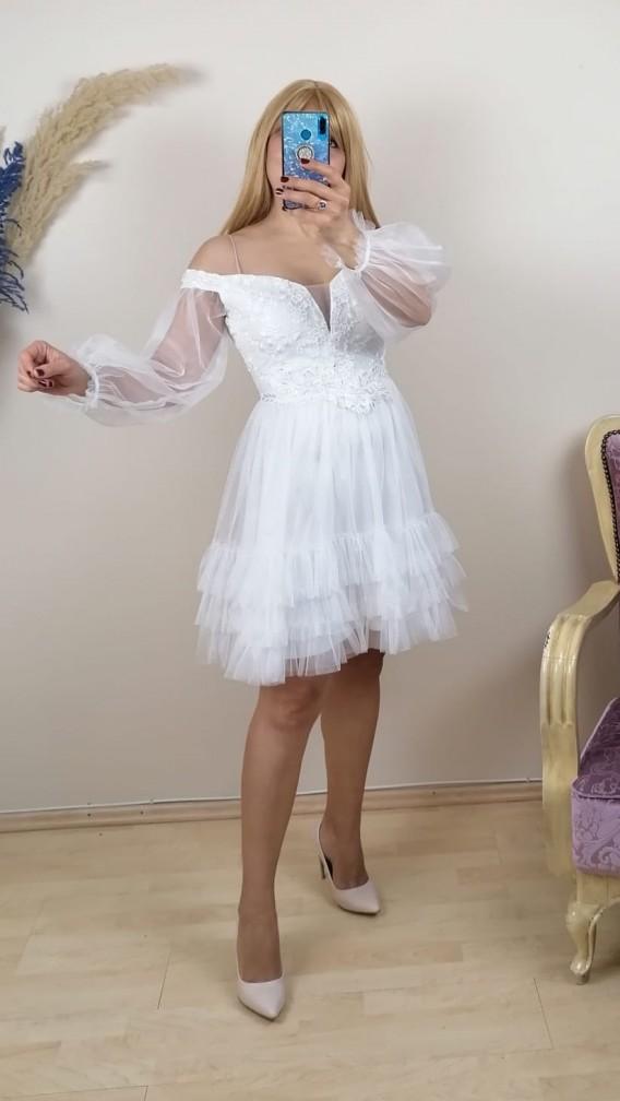 Madonna Yaka Tül Detay İşlemeli Elbise - Beyaz