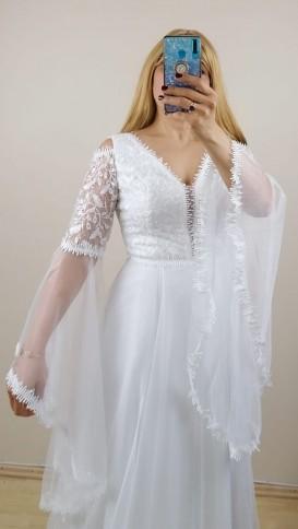 Volan kollu Üzeri Dantelli Tül Etek Elbise - Beyaz