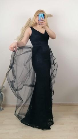 Kolsuz Üzeri Dantelli Tül Etek Elbise - Siyah
